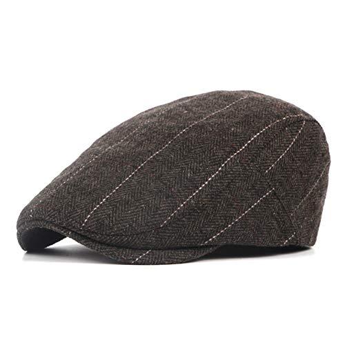 (LANLEO Men's Herringbone Wool Tweed Gatsby Newsboy Hat Flat Lvy Cabbie Driving Golf Cap Brown)