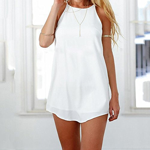 Mujer Ansenesna Tirantes Verano Falda Corto Vestido Playa Mujer Tul Corto Elegante 2018 Playa Transparente Blanco Casual wTWHU8gxTn