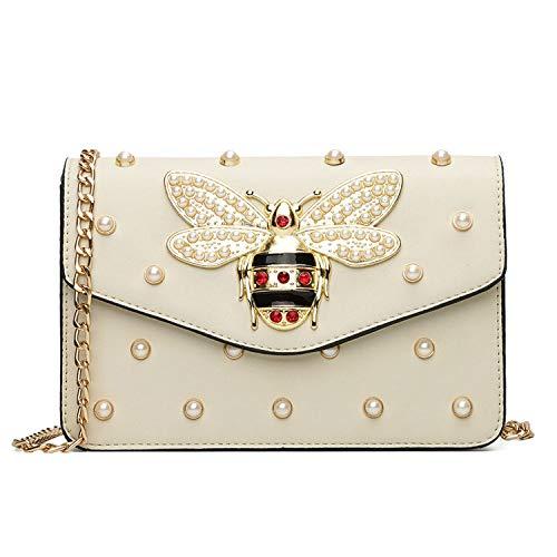 (Bags for Women Rhinestones Bee Purses Handbag Small Chain Crossbody Bag Ladies Evening Party Bag flap bag summer,white,21.5CMx7CMx15CM)