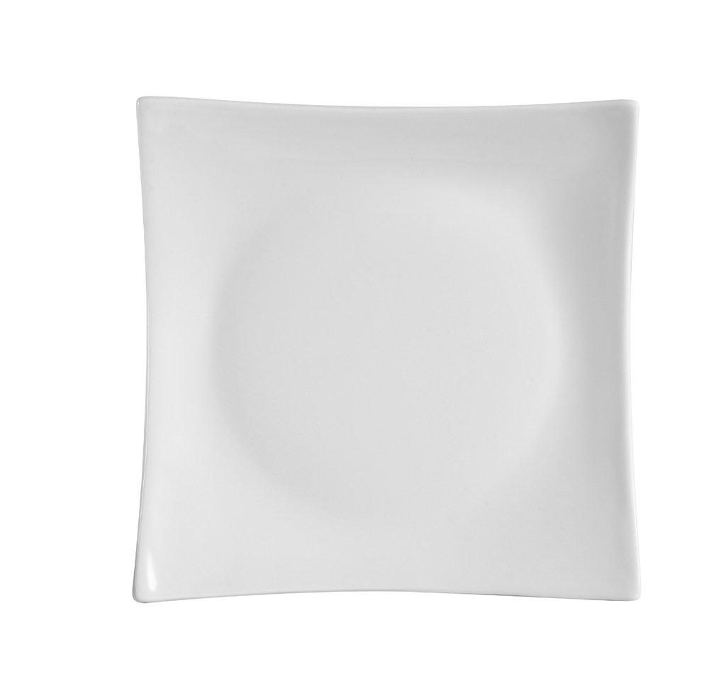 CAC China SHA-16 Sushia 10-Inch Super White Porcelain Square Plate, Box of 12