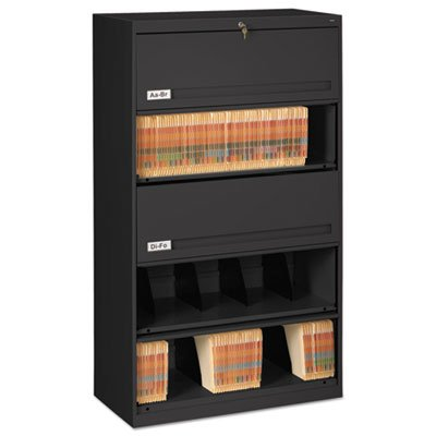Closed Fixed Shelf Lateral File, 36w x 16 1/2d x 63 1/2, Black, Sold as 1 Each