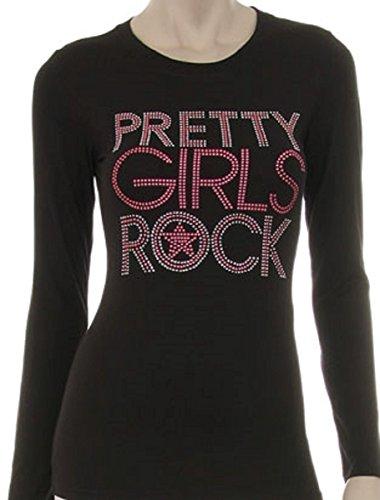 Pretty Girls Rock T-Shirt for Women, Rhinestone T-Shirts for Women (3X) - Couture T-shirt Rhinestone