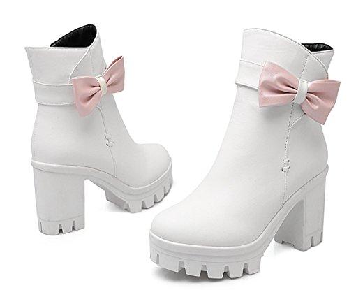 YE Damen Chunky High Heels Plateau Stiefeletten mit Blockabsatz Schleife und Reißverschluss 9cm Absatz Herbst Winter Schuhe Weiß