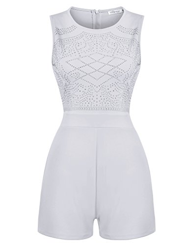 Embellished Jumpsuit (Meaneor Women Rhinestone Embellished Sleeveless High Waist Pant Romper Jumpsuit)