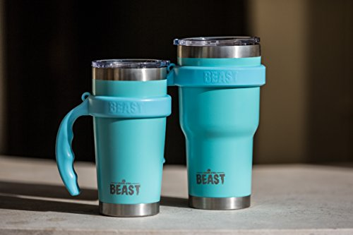 BEAST 30 oz Teal Tumbler Stainless Steel Insulated Coffee Cup with Lid, 2 Straws, Brush & Gift Box by Greens Steel (30oz, Aquamarine Blue) by Greens Steel (Image #7)
