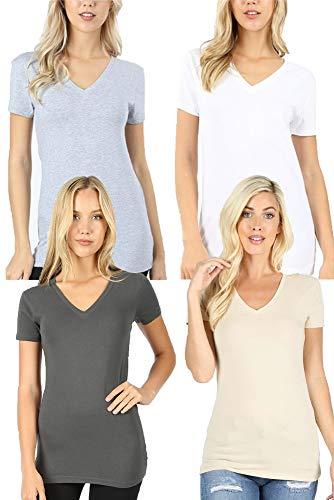 4 Pack Zenana Women's Basic V-Neck T-Shirts - Ash Gray/Taupe/H Gray/White - Large