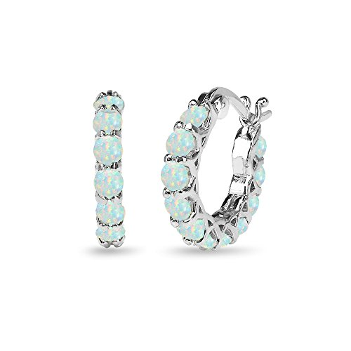 Sterling Silver Simulated White Opal Small Round Huggie 18mm Hoop Earrings