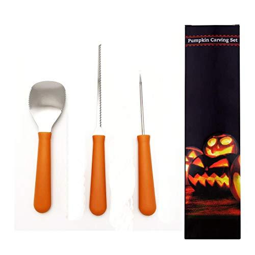 Wolmund Halloween Pumpkin Carving Kit, 3 Piece Heavy Duty Stainless Steel Tool Set