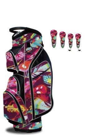 Taboo Fashions Monaco Lightweight Carry/Cart Bag Bundle with Club Covers (Native Joy)