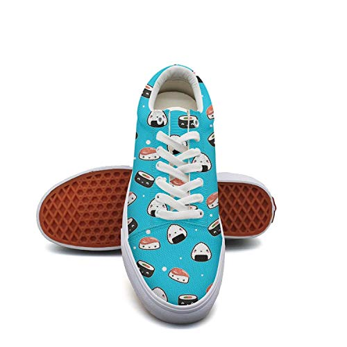 Mortimer Women's Canvas Fashion Sneakers Sushi Cute Japanese Food Awesome Kawaii Food Skate Shoe Lace Up Casual Shoes (Best Sushi Delivery Upper East Side)