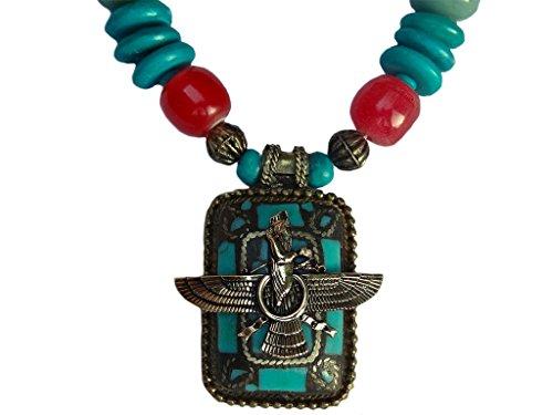 Turquoise Faravahar Necklace Iranian Persian Gift Iran Persia Pahlavi Art Farvahar