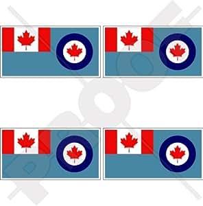 """Canadá Canadiense Airforce Aircom Bandera 2""""(50mm) bumper-helmet de vinilo pegatinas, calcomanías x4"""