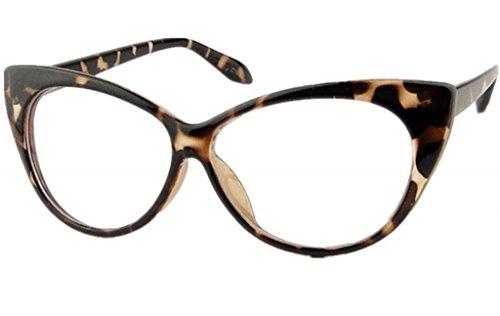 Clear Lens Women's Fashion Cat Eye Eyeglasses Frame Retro Style Black Leopard - Print Leopard Frames Eyeglasses