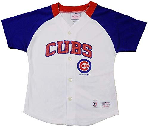 (Outerstuff Chicago Cubs Blank Wordmark White Girls Youth Fashion Jersey (Large 10/12))