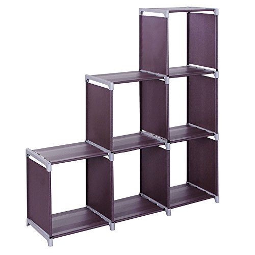 3 Tier Bookcase, 6-Cube Space-Saving Book Storage Cabinet Closet Organizer Shelf for Kids Bedroom Living Room Office US Stock 3 Tier 6 Cubes-Dark Brown