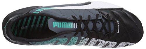 Puma evoSPEED 1.3 Lth FG Herren Fußballschuhe Schwarz (black-white-turbulence-pool green-scuba blue 02)
