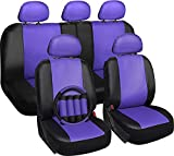2003 350z leather seat covers - Motorup America Leather Auto Seat Cover Full Set - Fits Select Vehicles Car Truck Van SUV - Purple & Black