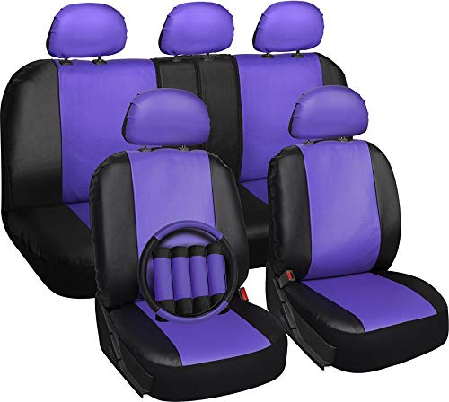 Motorup America Leather Auto Seat Cover Full Set - Fits Select Vehicles Car Truck Van SUV - Purple & (Saab Leather Seats)