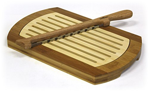 Multi-Purpose Two-Tone Bamboo Crumb Tray / Cutting Board / Serving Tray & Fiddle Bow Bread Knife Set (Mountain Woods / Simply Bamboo)