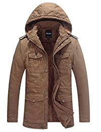 Wantdo Men's Windproof Thick Parka Coat Front Zipper Jacket(Khaki,Large)