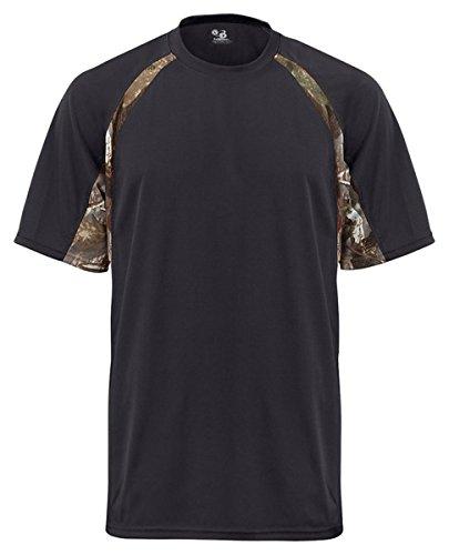Badger Sport B-Dry Hook T-Shirt - 4144 - Black / Force Camo - X-Large -