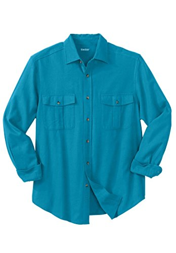Tall Solid Double-Brushed Flannel Shirt, Marine Blue ()