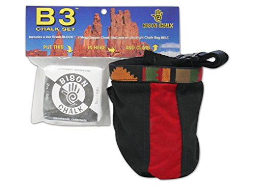 Bison Designs Climbing Chalk Bag with Ultralight Belt & 2 oz Block Chalk, Fits 3 oz Ball, Multicolor
