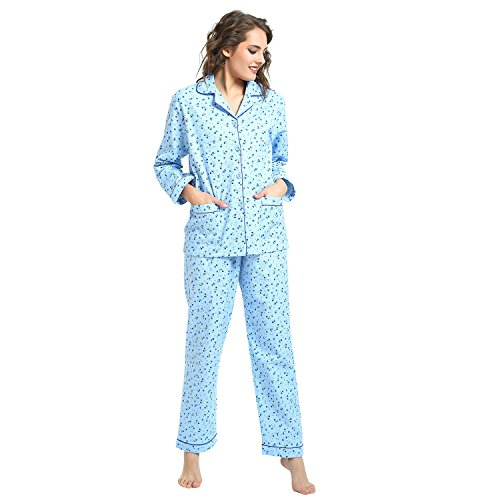 GLOBAL Women's Pj Set, 100% Cotton Soft Cozy Flannel Pajamas Set Button Front Long Sleeve Top Sleepwear