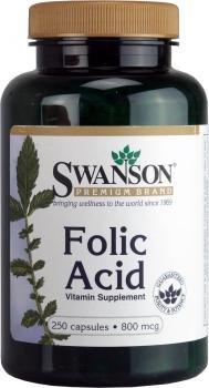 Swanson - Folsäure 800mcg, 250 Kapseln - Pränatale Vitamin B9 - Auch genannt Folat & Folacin - Spezielle Nahrungsergänzung für Schwangerschaft (Folic Acid capsules - Pregnancy Supplement)