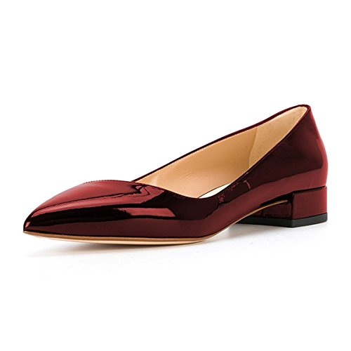 XYD Women Pointed Toe Low Heel Loafer Shoes Patent Slip On Slide Ballet Flat Shoes Deep Red