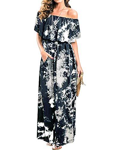 (BYSBZD Womens Off The Shoulder Ruffle Party Dresses Tie Dye Split Maxi Long Dress Black S)
