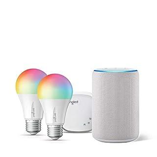 Echo (3rd Gen) Sandstone Bundle with Senged 2-pack smart bulb color starter kit