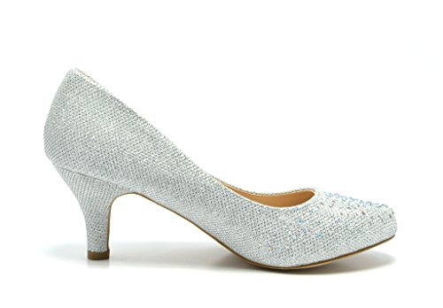 Pairs Party Shoes Wedding glitter Pump Luvly Women's Dream Heel Silver Low Bridal gdxZaaA