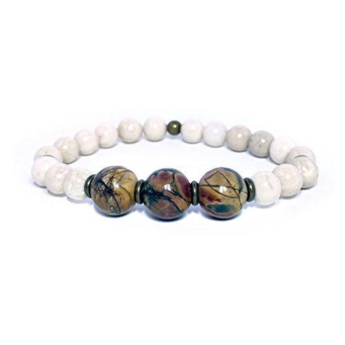 (Deep Red Creek Jasper 12mm and River Stone 8mm Gemstone Stretch Bracelet Handmade in California)