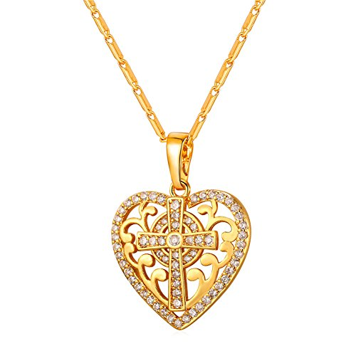 U7 Scroll Design Cross Heart Pendant with 18K Gold Plated Chain Baptism Gift Women Jewelry ()