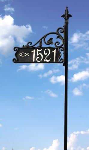 [해외]48 기독교 물고기 기호로 반사판 주소 산책로 산책로/48  Boardwalk Reflective Address Sign with Christian Fish Symbol