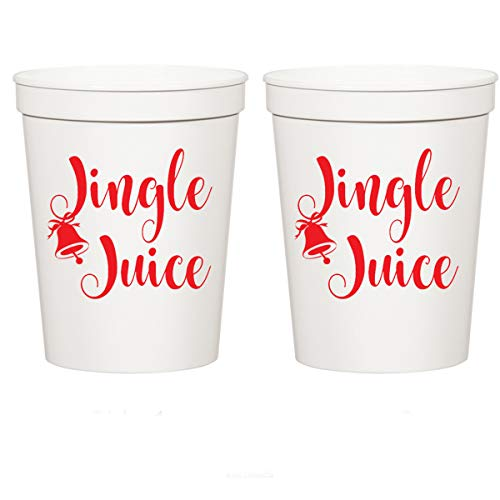 Christmas White Plastic Stadium Cups - Jingle Juice (10 cups)