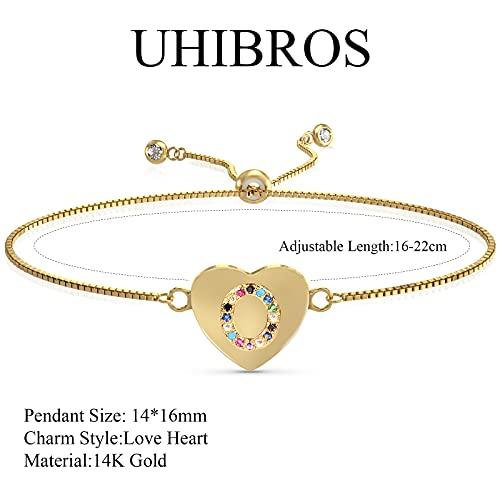 UHIBROS Heart Initial Bracelet for Women, 14K Gold Plated Love Heart Charm Monogram Bracelet , Dainty A to Z Letter Initial Bracelet for Teen Girls-O