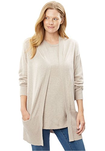 Woman Within Plus Size Fine Gauge Open Front Cardigan - Heather Sand, 14/16