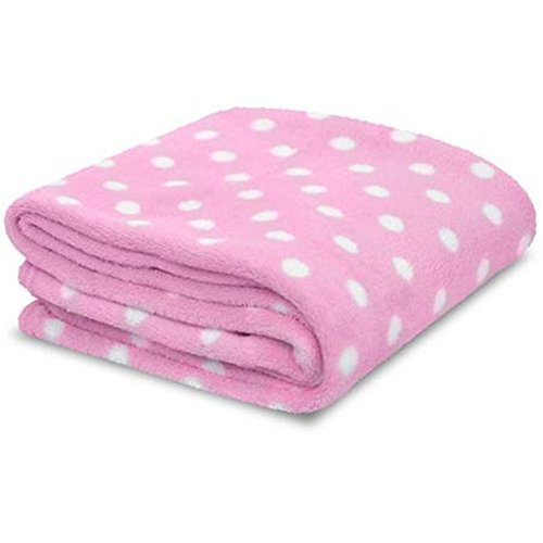 Little Starter Pink & White Polka Dot Soft Plush Baby Blanket