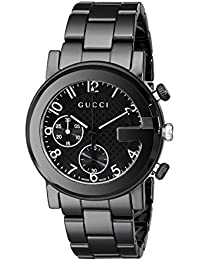Gucci G - Chrono Collection Analog Display Swiss Quartz Black Mens Watch(Model:YA101352