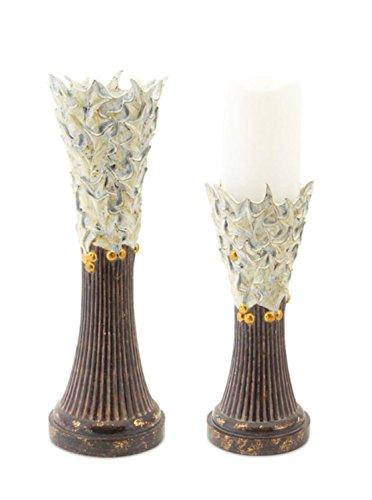 (Pack of 2 Elegant White Holly Decorative Christmas Candle Holder 2-Piece Sets 14