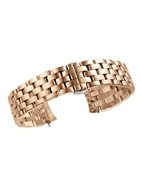 23mm Luxury Polished Metal SS Watch Straps for Men Solid Rose Gold 316L Inox Steel Curved End Pilot Style