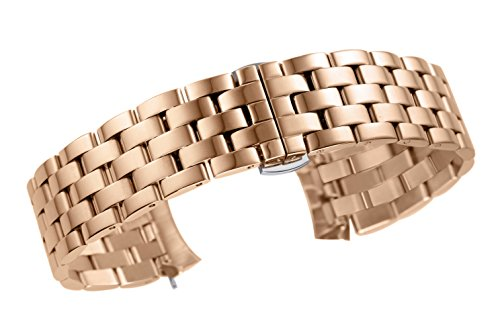 22mm High-Grade Solid 316L Stainless Steel Band Replacement for Luxury Watches in Rose Gold Pilot Style Esq Rose Gold Wrist Watch