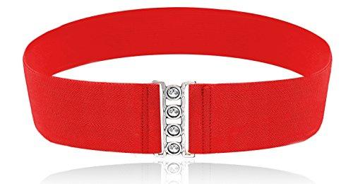 (LUNA Fashion 3 Inch Elastic Cinch Belt - Solid - Red)