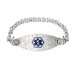 Divoti Deep Custom Laser Engraved Lovely Filigree Medical Alert Bracelet -Stainless Handmade Byzantine-Deep Blue