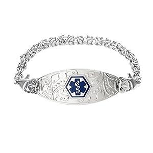 Divoti Deep Custom Laser Engraved Lovely Filigree Medical Alert Bracelet -Stainless Handmade Byzantine-Deep Blue