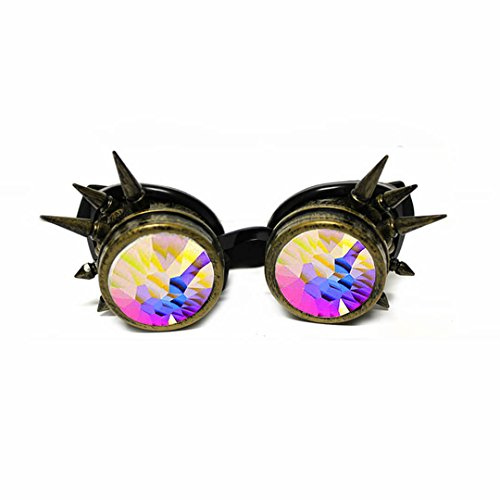 GloFX Copper Spiked Padded Kaleidoscope Goggles - Brass Copper Style Spike Crystal Kaleidoscope Prism Rave Goggles Spikes Spikey -