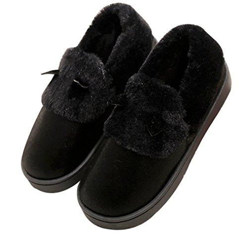 Cattior Womens Foderato Di Pelliccia Pantofole Allaperto Pantofole Da Donna Casa Scarpe Nere