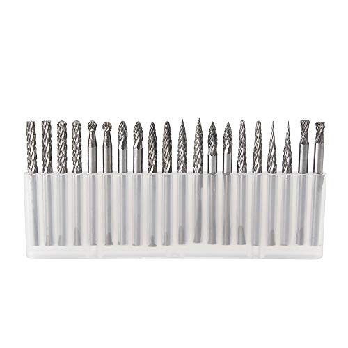 YUFUTOL 20pcs Solid Carbide Burr Set 0.118''(3mm)shank Tungsten Carbide Rotary Files Burrs with 3mm Cutting Head diameter Fits Most Rotary Drill Die Grinder for Woodworking,Engraving,Drilling,Carving ()